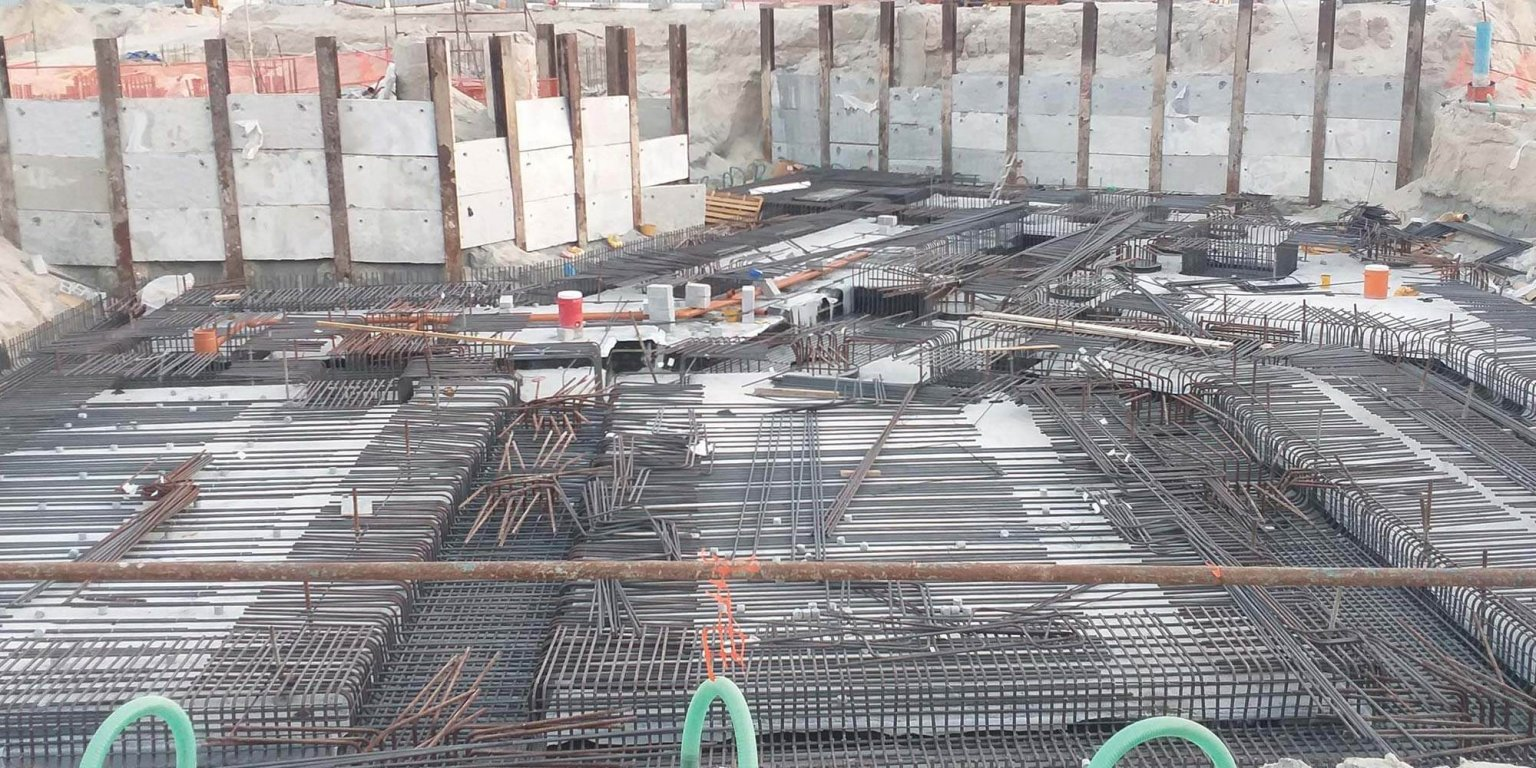 Underground water tank reinforcement is ongoing, September 2021.